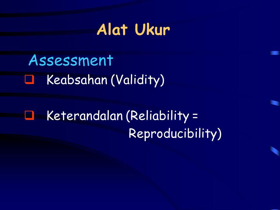 Alat Ukur Assessment Keabsahan (Validity) Keterandalan (Reliability =