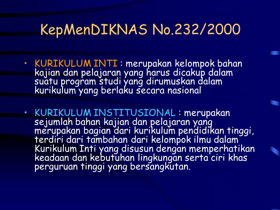 KepMenDIKNAS No.232/2000