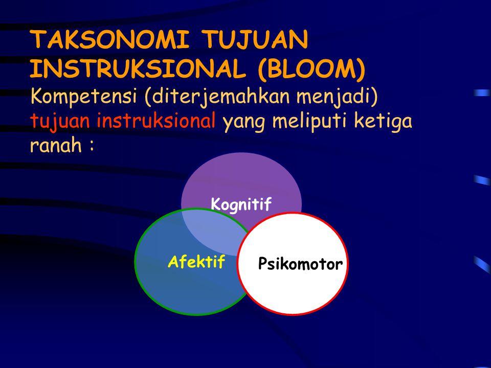 TAKSONOMI TUJUAN INSTRUKSIONAL (BLOOM) Kompetensi (diterjemahkan menjadi) tujuan instruksional yang meliputi ketiga ranah :