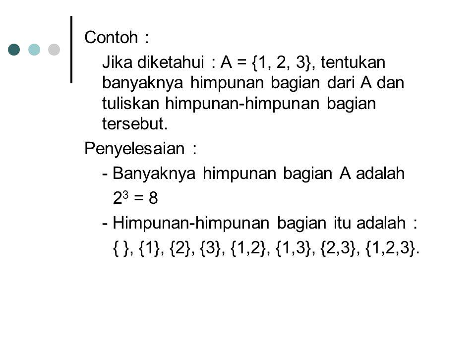 Contoh : Jika diketahui : A = {1, 2, 3}, tentukan banyaknya himpunan bagian dari A dan tuliskan himpunan-himpunan bagian tersebut.