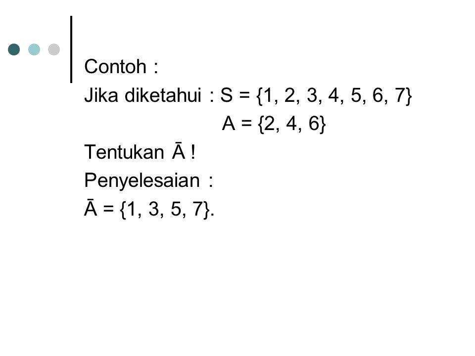 Contoh : Jika diketahui : S = {1, 2, 3, 4, 5, 6, 7} A = {2, 4, 6} Tentukan Ā .