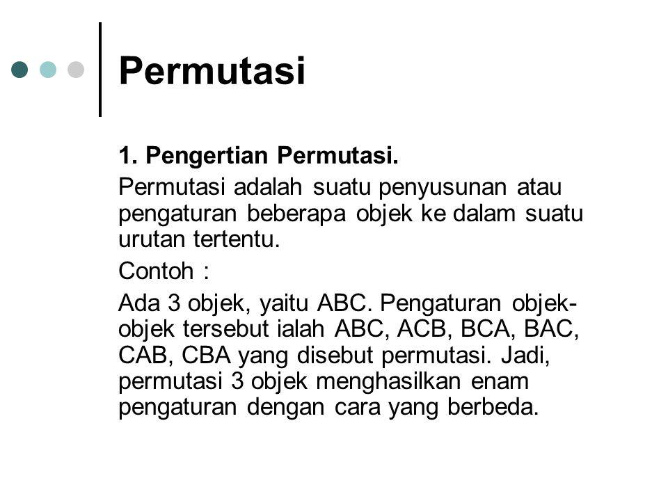 Permutasi 1. Pengertian Permutasi.