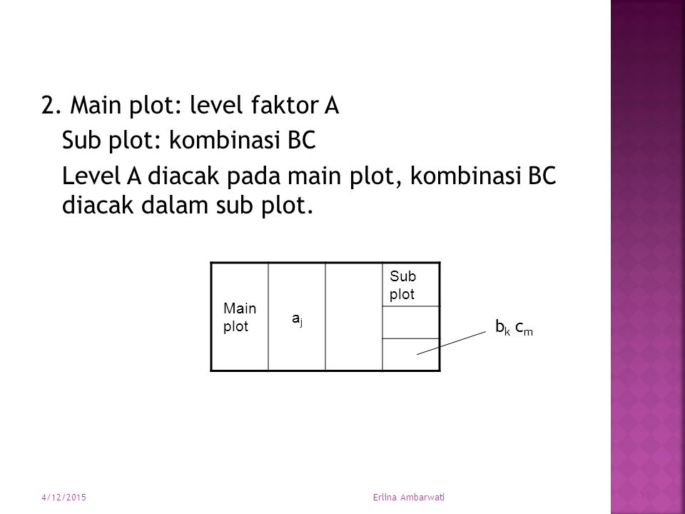 2. Main plot: level faktor A Sub plot: kombinasi BC