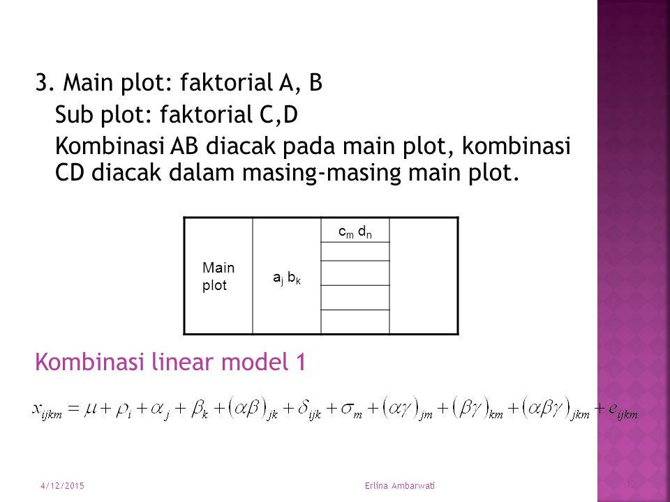 3. Main plot: faktorial A, B Sub plot: faktorial C,D