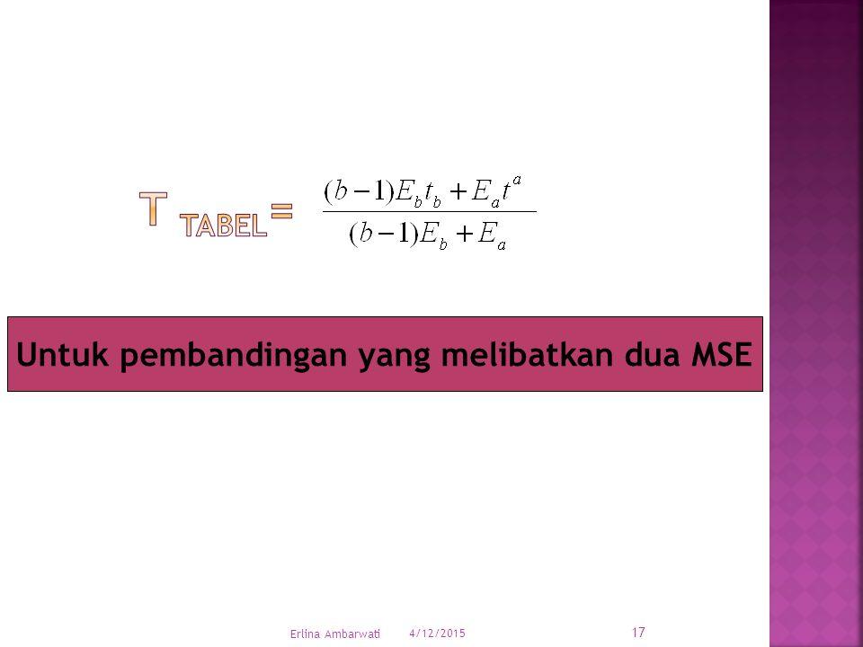 Untuk pembandingan yang melibatkan dua MSE