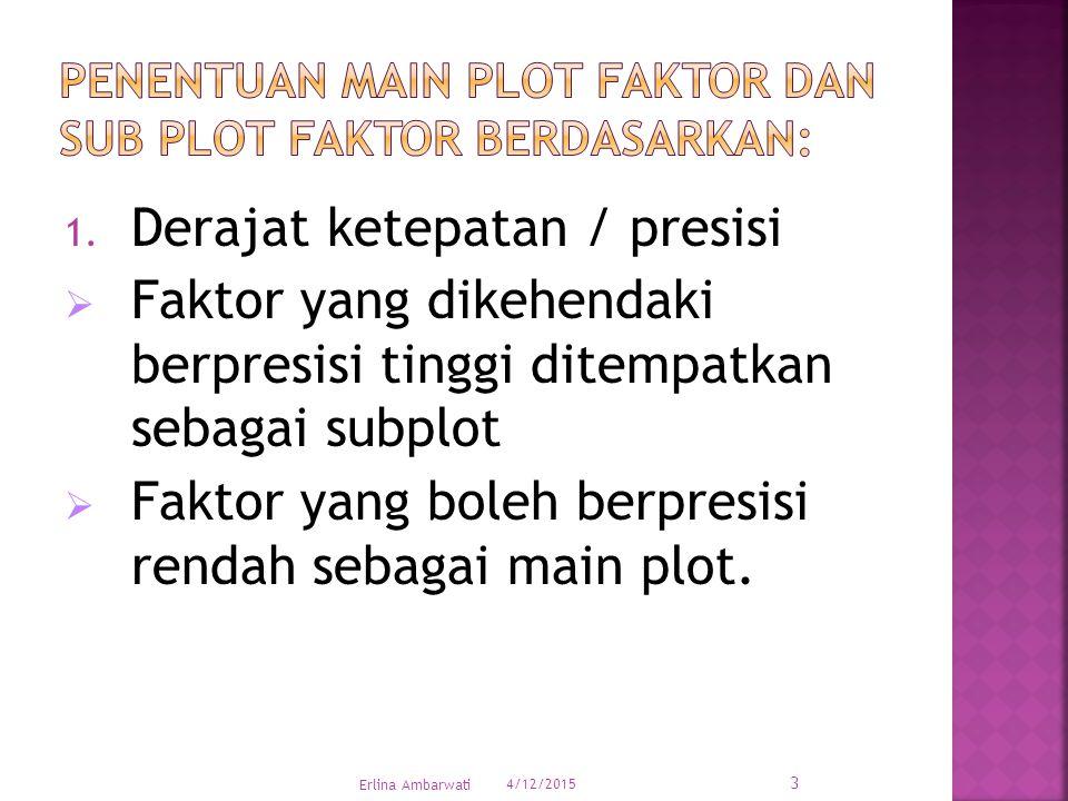 Penentuan main plot faktor dan sub plot faktor berdasarkan: