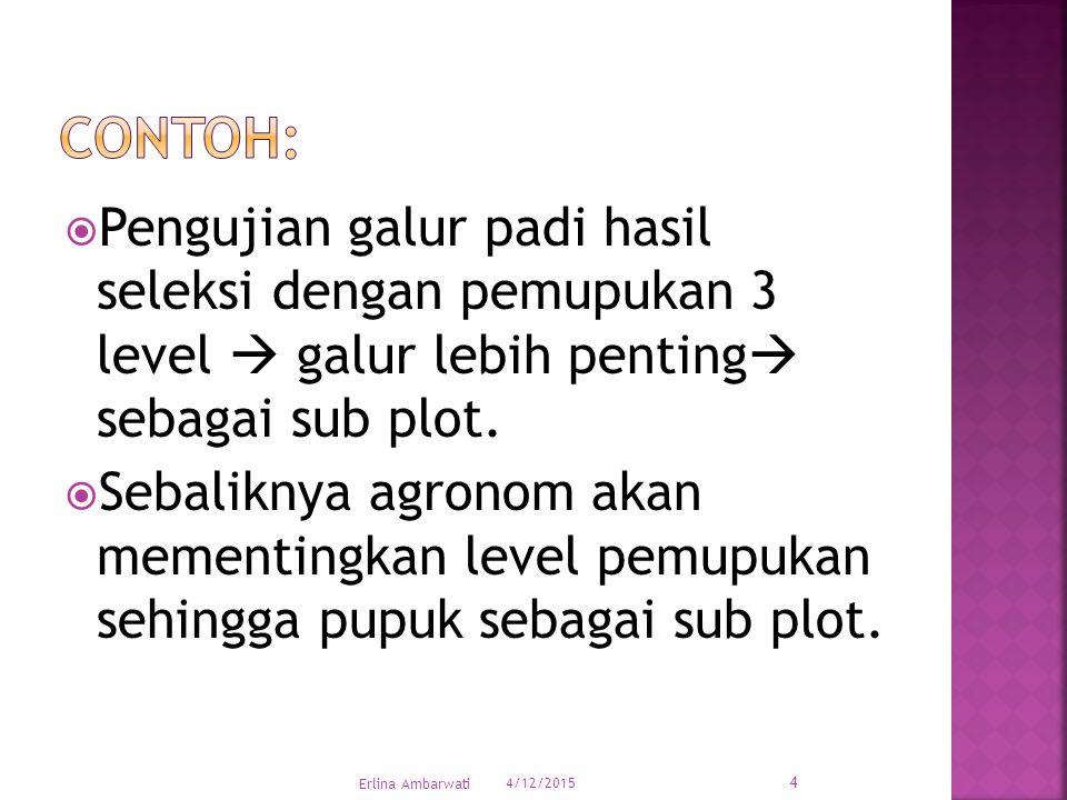 Contoh: Pengujian galur padi hasil seleksi dengan pemupukan 3 level  galur lebih penting sebagai sub plot.