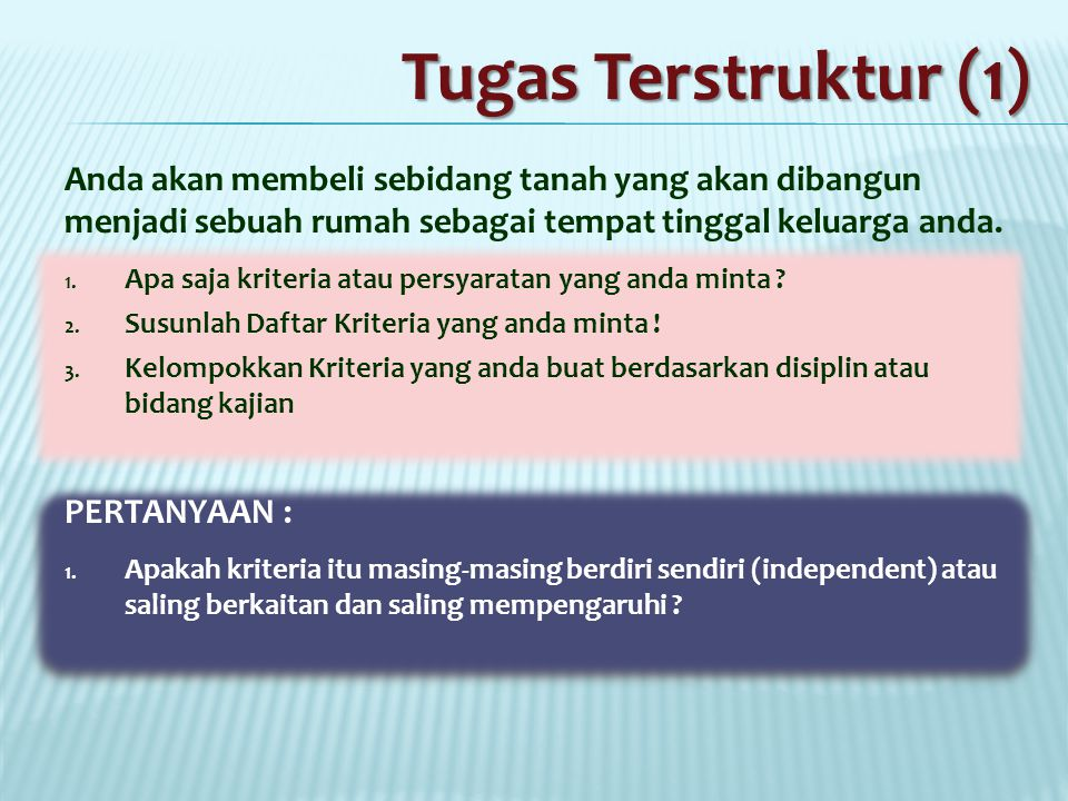 Tugas Terstruktur (1) Anda akan membeli sebidang tanah yang akan dibangun menjadi sebuah rumah sebagai tempat tinggal keluarga anda.