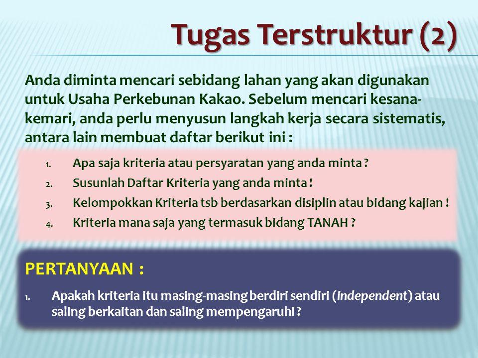 Tugas Terstruktur (2) PERTANYAAN :