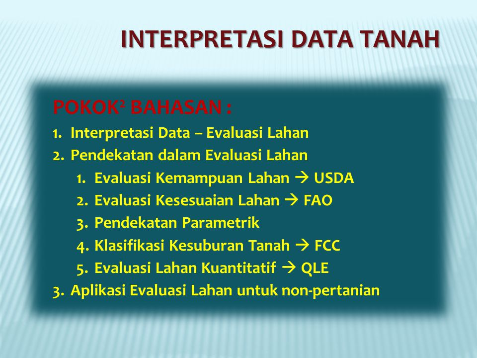 INTERPRETASI DATA TANAH