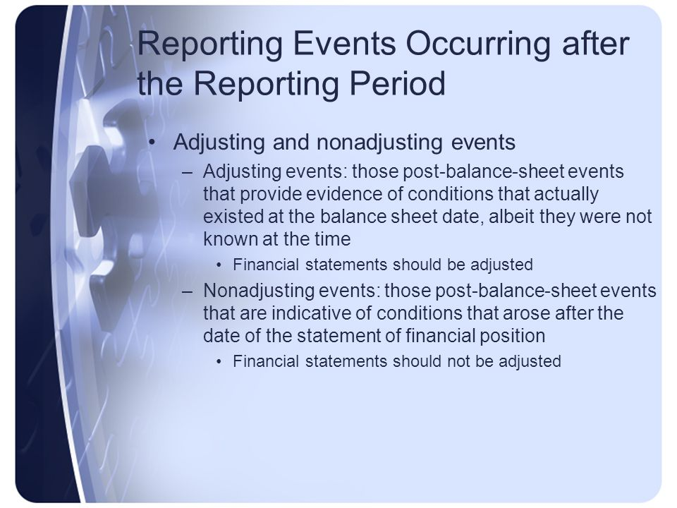Reporting Events Occurring after the Reporting Period