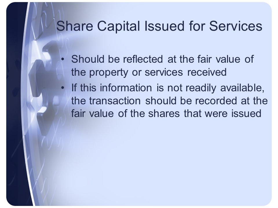 Share Capital Issued for Services