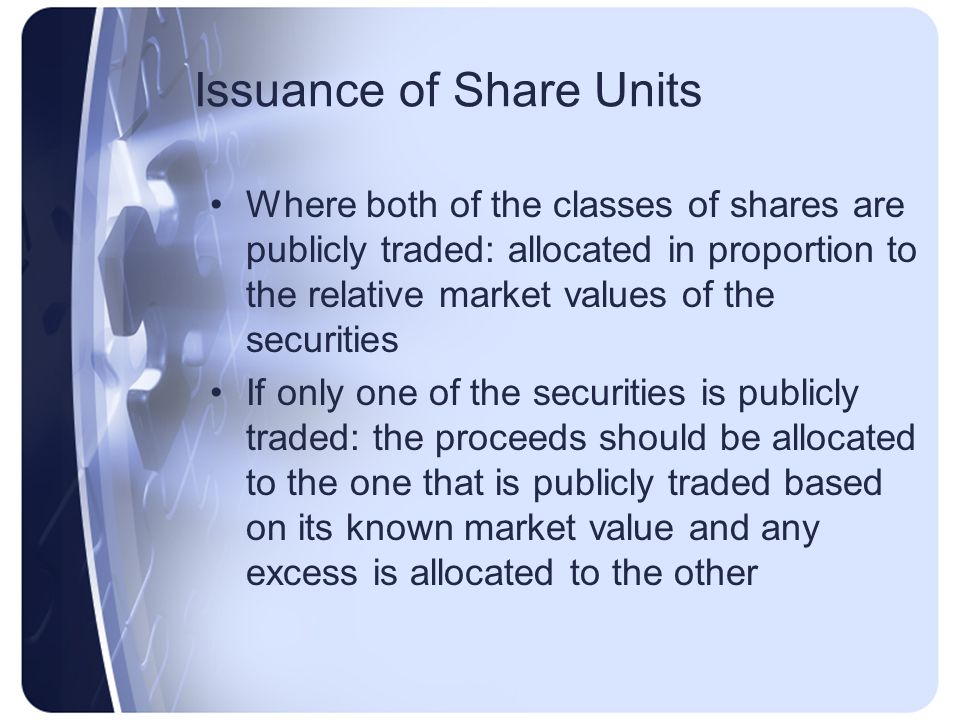 Issuance of Share Units