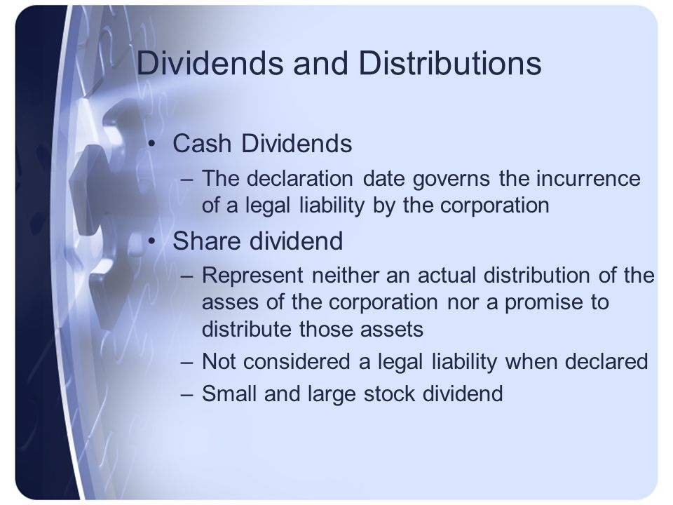 Dividends and Distributions