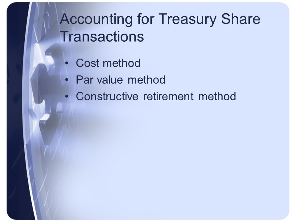 Accounting for Treasury Share Transactions