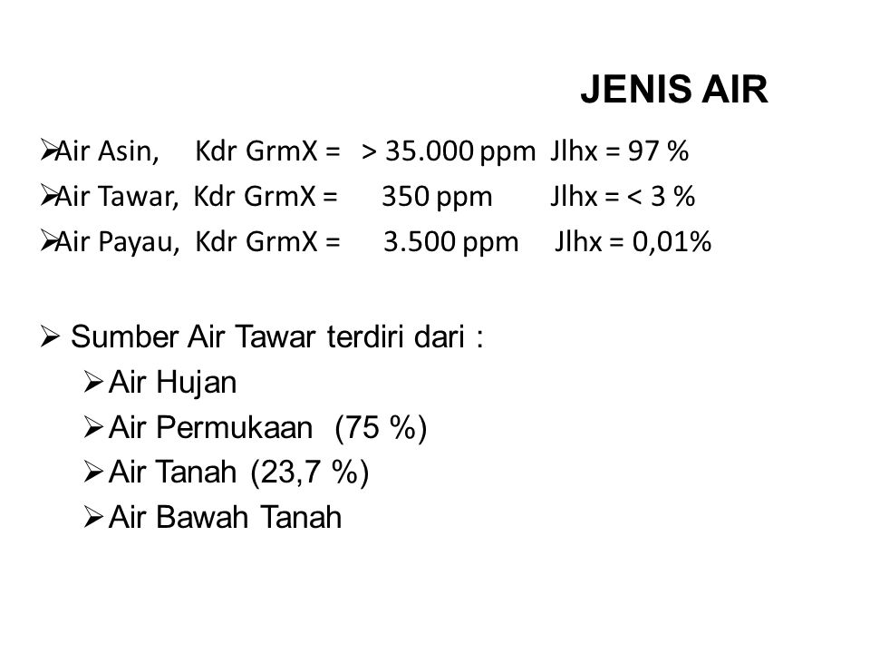 JENIS AIR Air Asin, Kdr GrmX = > 35.000 ppm Jlhx = 97 %
