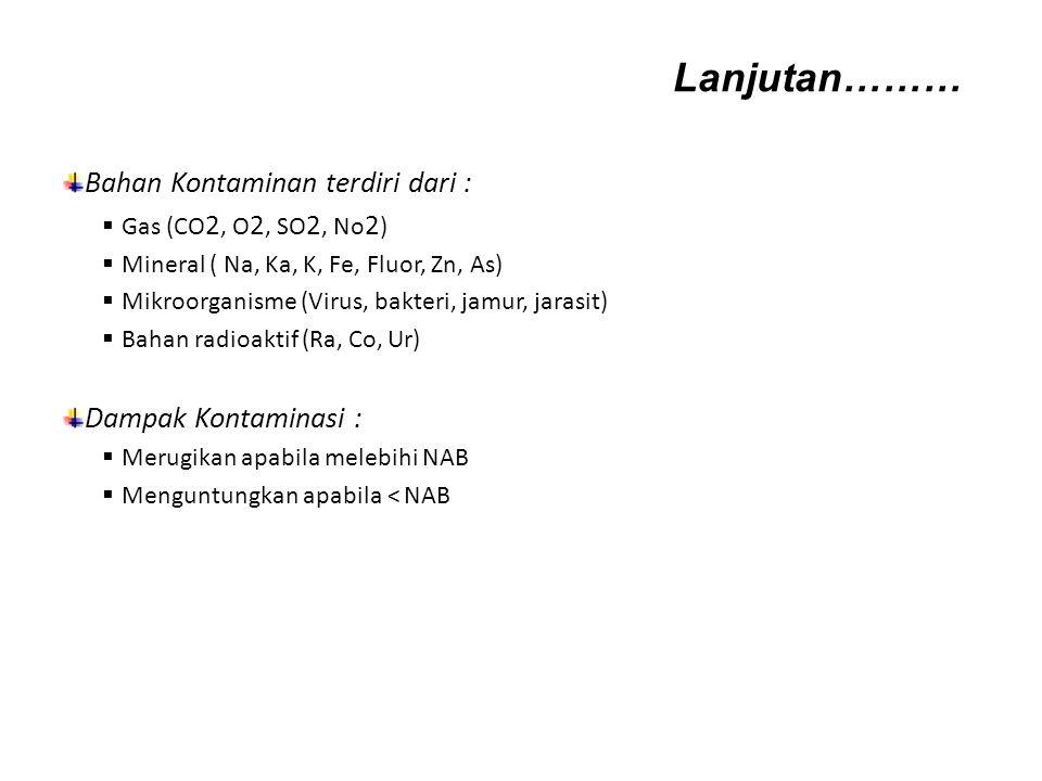 Lanjutan……… Bahan Kontaminan terdiri dari : Dampak Kontaminasi :
