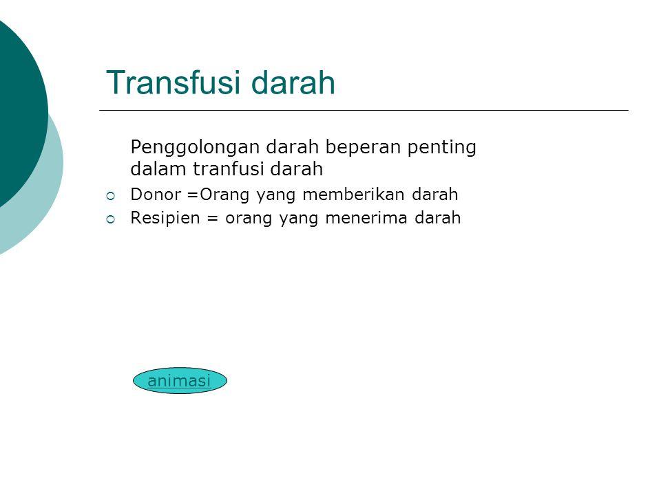 Transfusi darah Penggolongan darah beperan penting dalam tranfusi darah. Donor =Orang yang memberikan darah.