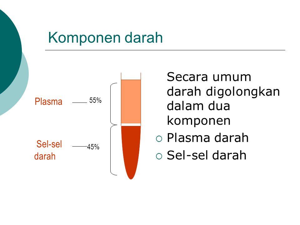 Komponen darah Secara umum darah digolongkan dalam dua komponen