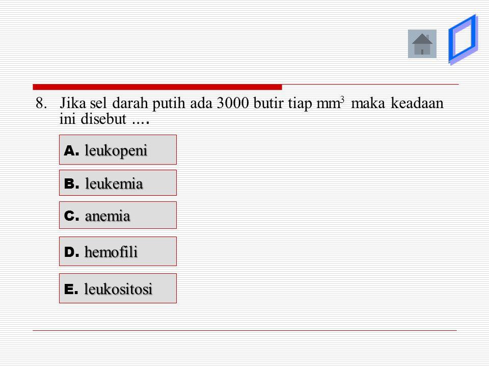þ ý. ý. ý. ý. 8. Jika sel darah putih ada 3000 butir tiap mm3 maka keadaan ini disebut …. A. leukopeni.
