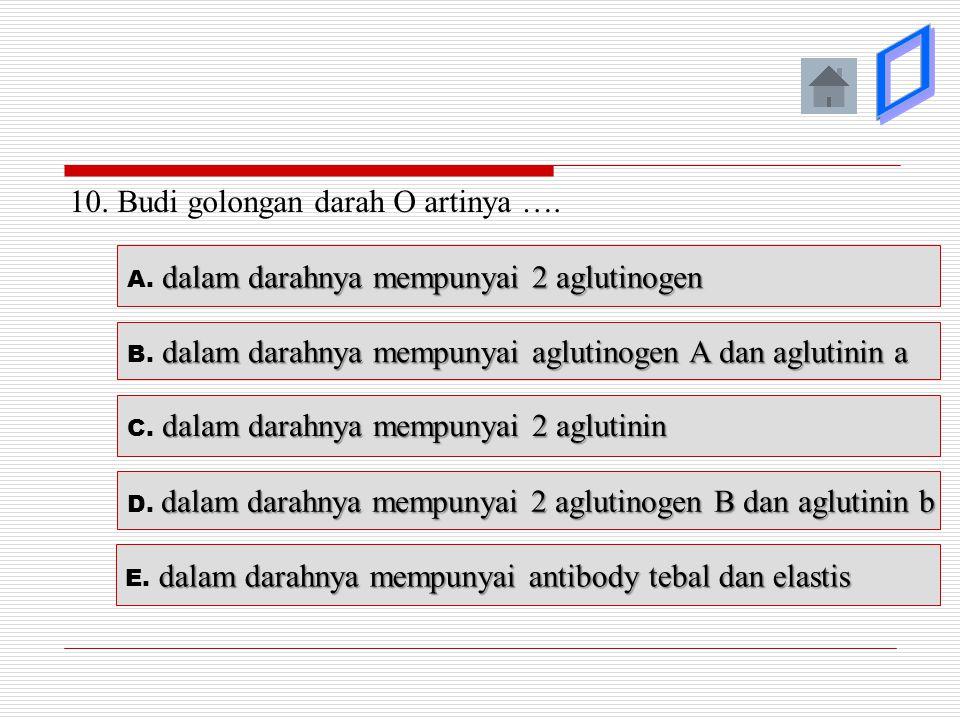 þ ý ý ý ý 10. Budi golongan darah O artinya ….