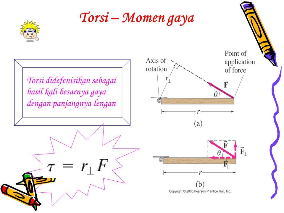 Torsi – Momen gaya Torsi didefenisikan sebagai hasil kali besarnya gaya dengan panjangnya lengan