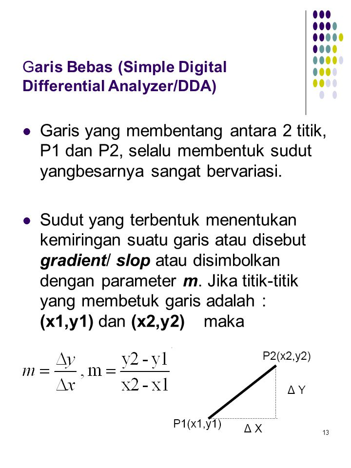 Garis Bebas (Simple Digital Differential Analyzer/DDA)