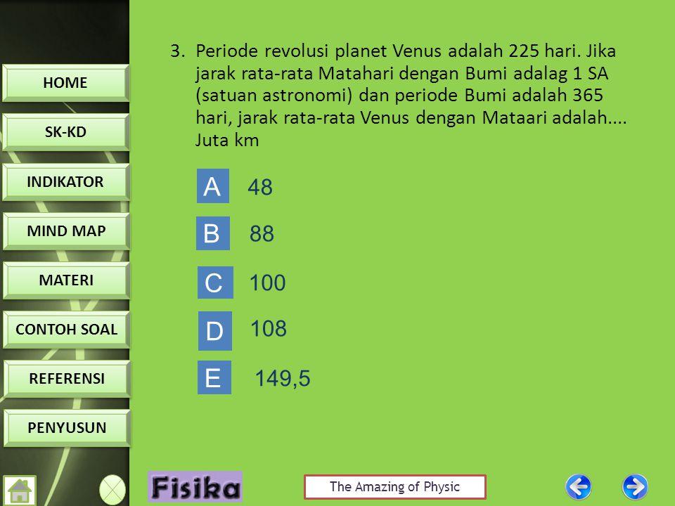 3. Periode revolusi planet Venus adalah 225 hari