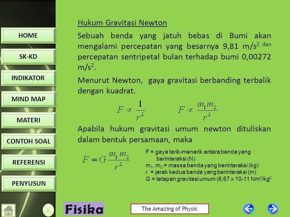 Hukum Gravitasi Newton Sebuah benda yang jatuh bebas di Bumi akan mengalami percepatan yang besarnya 9,81 m/s2 dan percepatan sentripetal bulan terhadap bumi 0,00272 m/s2. Menurut Newton, gaya gravitasi berbanding terbalik dengan kuadrat. Apabila hukum gravitasi umum newton dituliskan dalam bentuk persamaan, maka