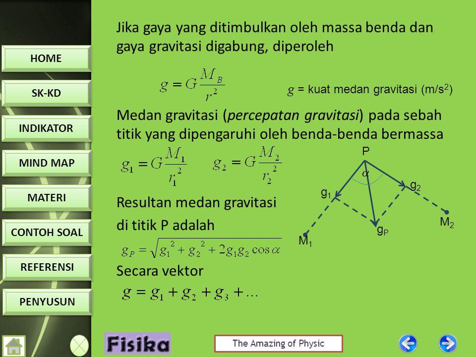 Jika gaya yang ditimbulkan oleh massa benda dan gaya gravitasi digabung, diperoleh Medan gravitasi (percepatan gravitasi) pada sebah titik yang dipengaruhi oleh benda-benda bermassa Resultan medan gravitasi di titik P adalah Secara vektor