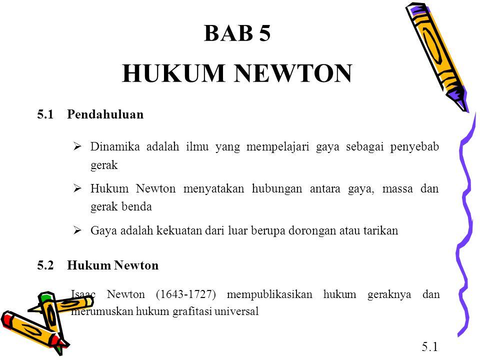 HUKUM NEWTON BAB 5 5.1 Pendahuluan 5.2 Hukum Newton 5.1