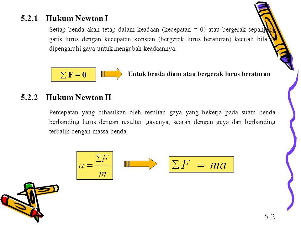 5.2.1 Hukum Newton I  F = 0 5.2.2 Hukum Newton II 5.2