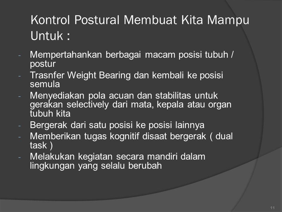 Kontrol Postural Membuat Kita Mampu Untuk :