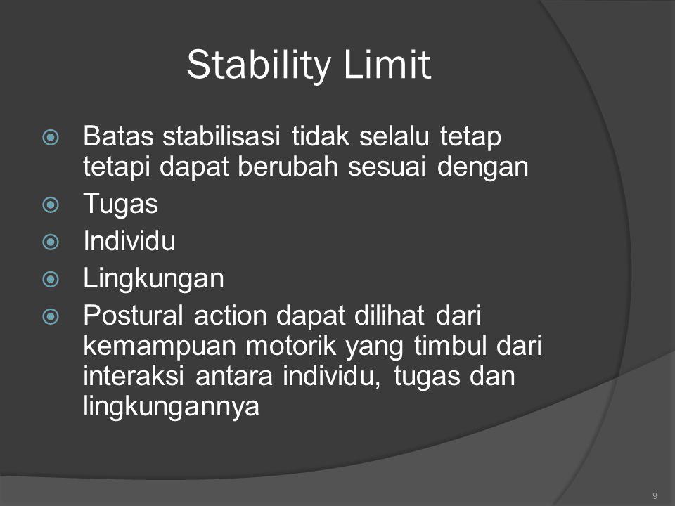 Stability Limit Batas stabilisasi tidak selalu tetap tetapi dapat berubah sesuai dengan. Tugas. Individu.