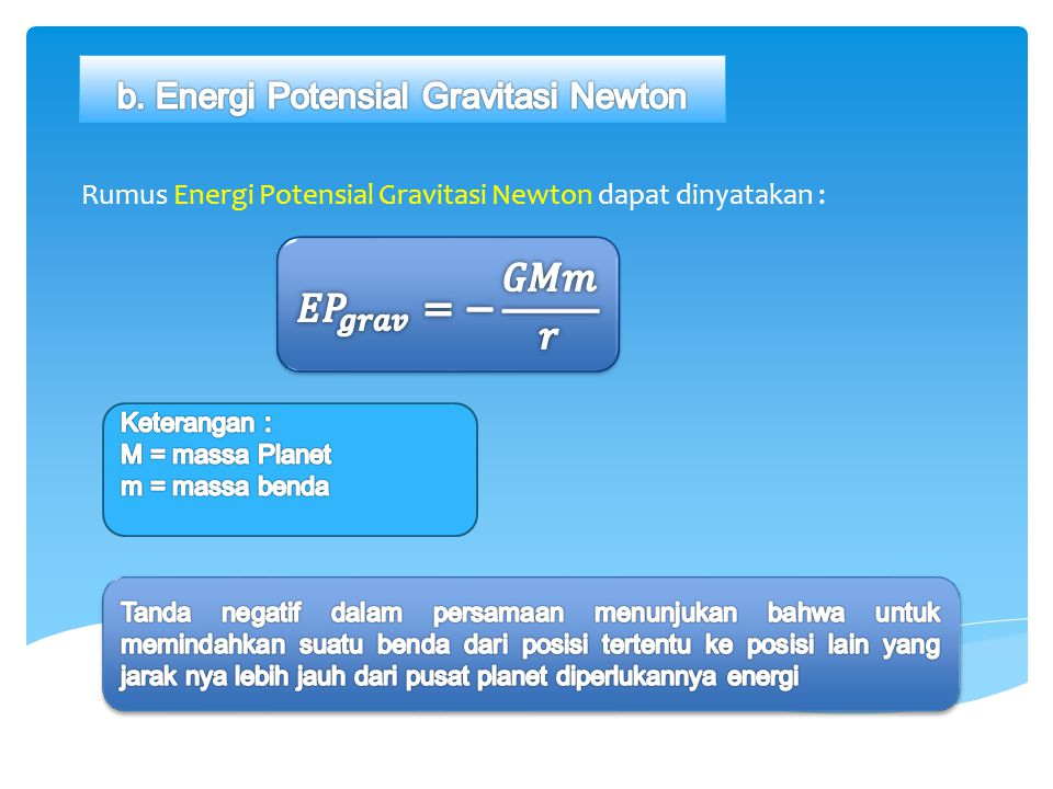 b. Energi Potensial Gravitasi Newton