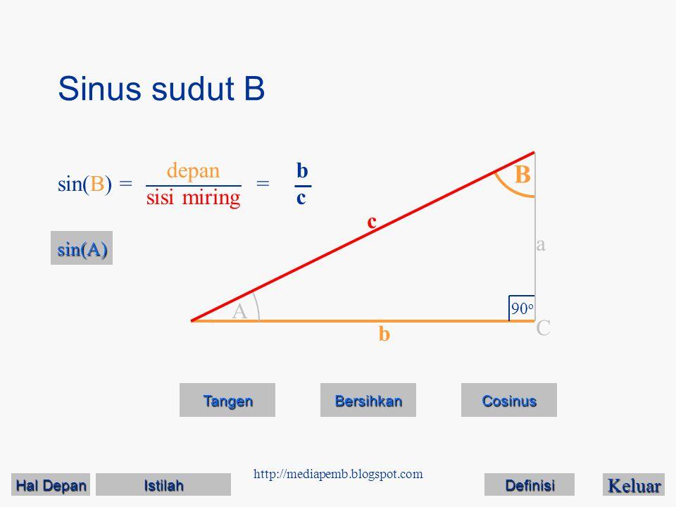 Sinus sudut B B depan sisi miring b c sin(B) = = c a A C b sin(A)