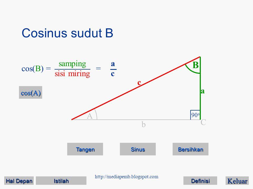 Cosinus sudut B B samping sisi miring a c cos(B) = = c a A C b cos(A)
