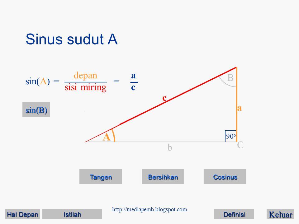 Sinus sudut A A depan sisi miring a c B sin(A) = = c a C b sin(B)