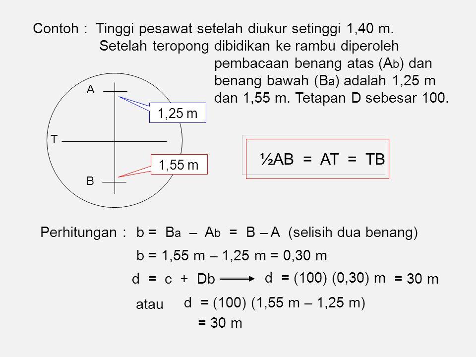½AB = AT = TB Contoh : Tinggi pesawat setelah diukur setinggi 1,40 m.
