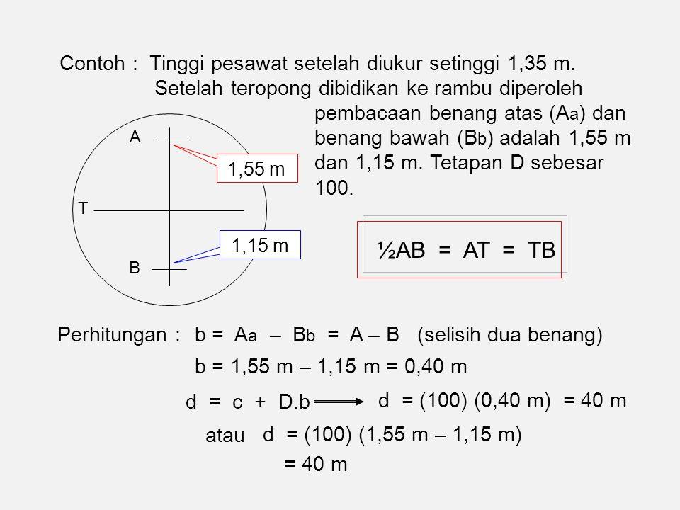 ½AB = AT = TB Contoh : Tinggi pesawat setelah diukur setinggi 1,35 m.