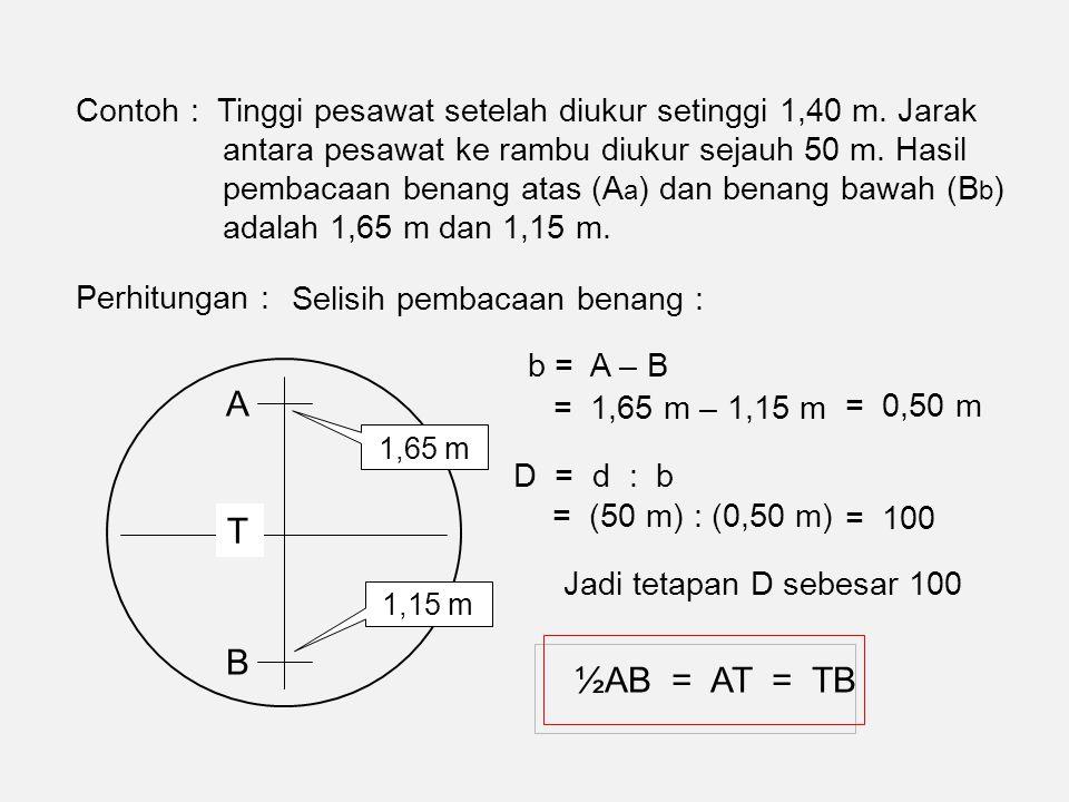 Contoh : Tinggi pesawat setelah diukur setinggi 1,40 m