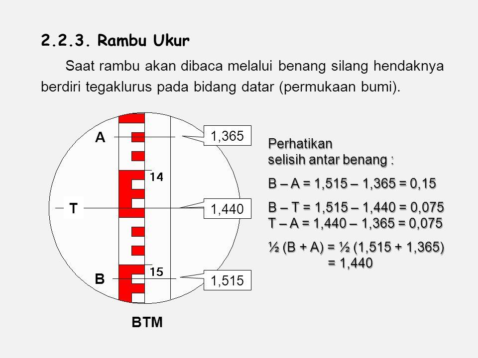 2.2.3. Rambu Ukur Saat rambu akan dibaca melalui benang silang hendaknya berdiri tegaklurus pada bidang datar (permukaan bumi).