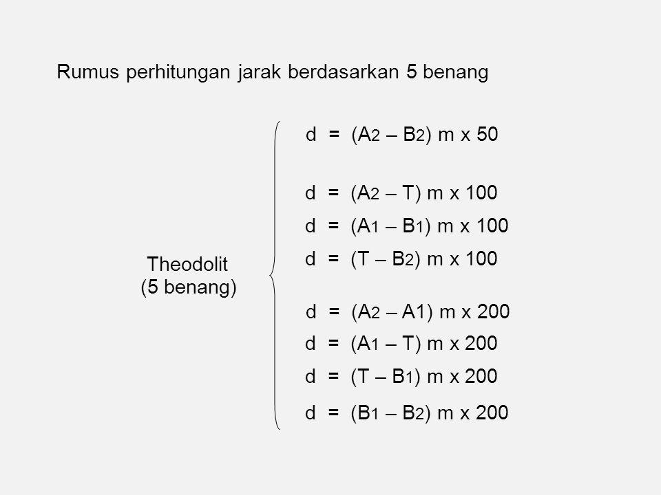 Rumus perhitungan jarak berdasarkan 5 benang