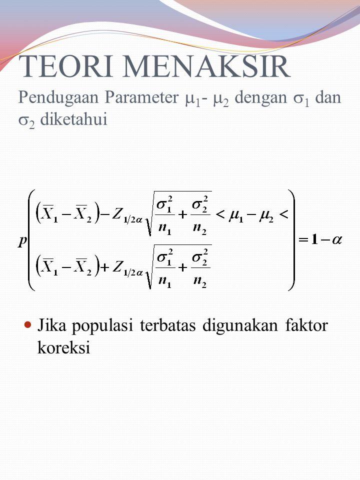 TEORI MENAKSIR Pendugaan Parameter 1- 2 dengan 1 dan 2 diketahui