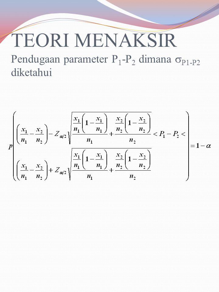 TEORI MENAKSIR Pendugaan parameter P1-P2 dimana P1-P2 diketahui