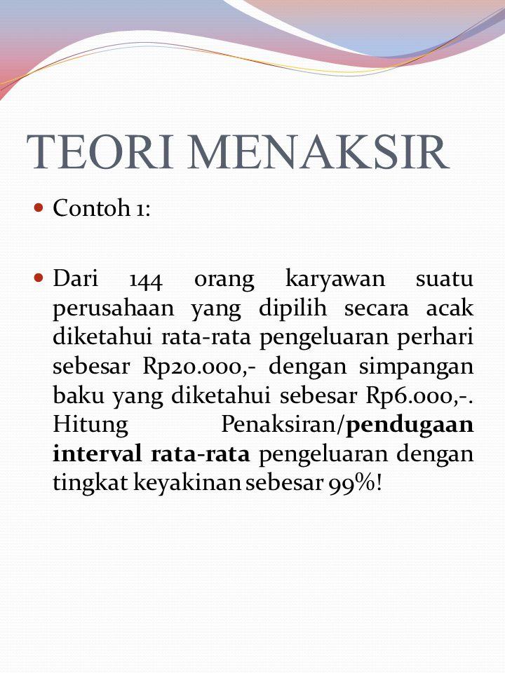 TEORI MENAKSIR Contoh 1: