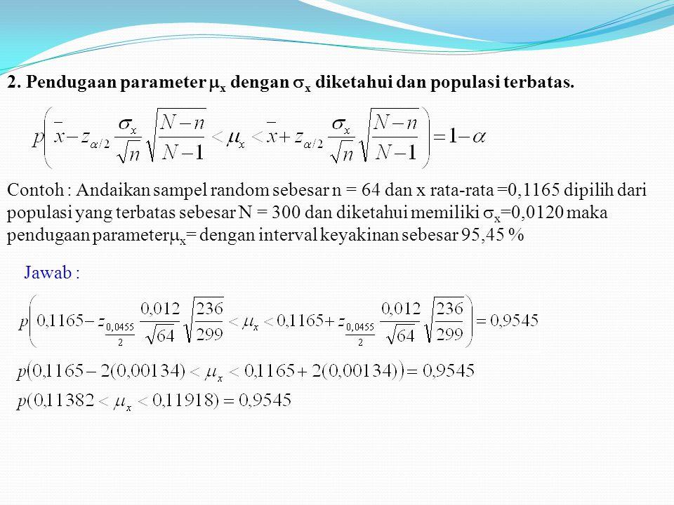 2. Pendugaan parameter x dengan x diketahui dan populasi terbatas.