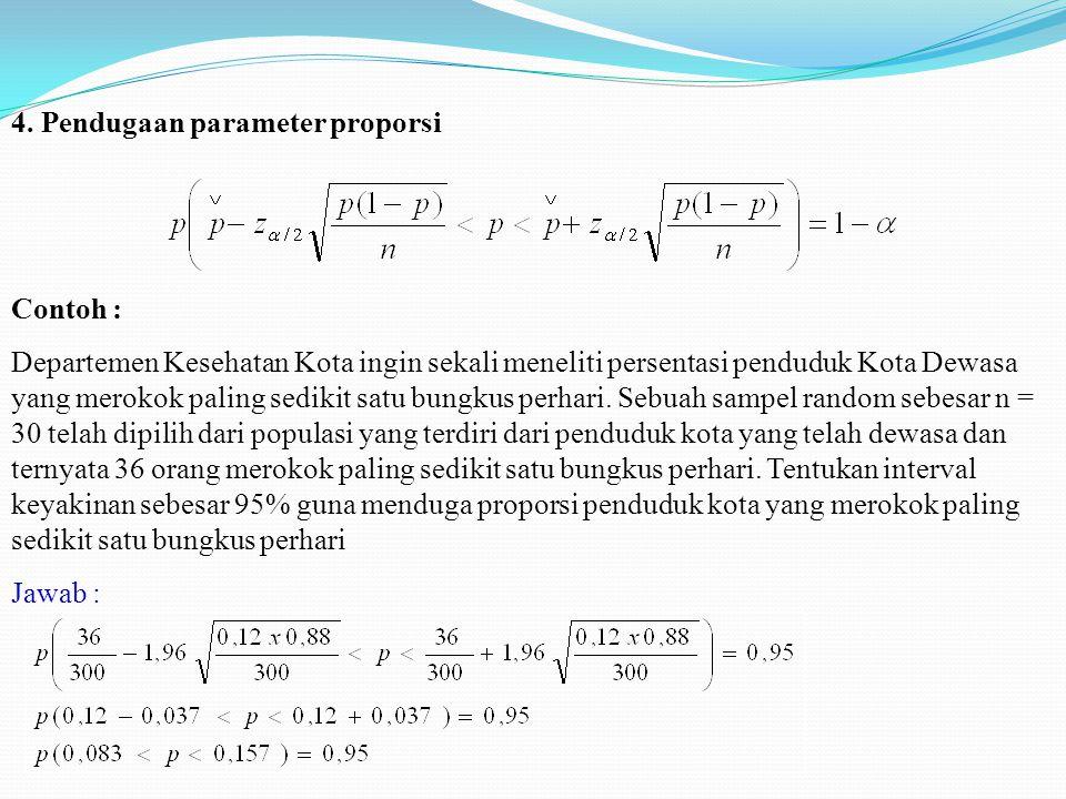 4. Pendugaan parameter proporsi