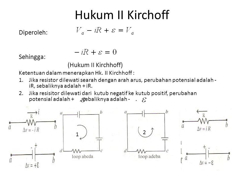 Hukum II Kirchoff Diperoleh: Sehingga: (Hukum II Kirchhoff)