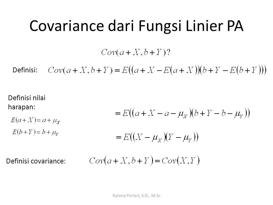 Covariance dari Fungsi Linier PA